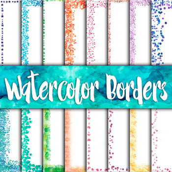 Watercolor Confetti Borders Digital Paper Pack - 16 Different Papers-12x12