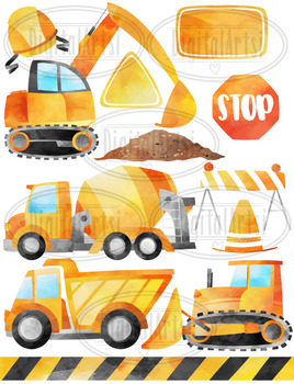 Watercolor Construction Clipart