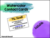 Editable Contact Cards for Back to School