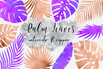 Watercolor & Copper Tropical Leaves