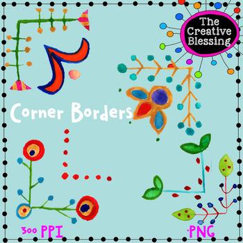 Hand Painted Watercolor Corner Border Clip Art