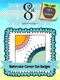 Watercolor Corner Sun Badges