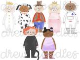 Watercolor Costume Kids Digital Clip Art Set