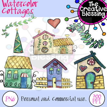 Watercolor Cottage House Clipart