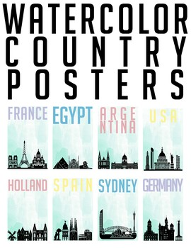 Watercolor Country Posters Classroom Decor