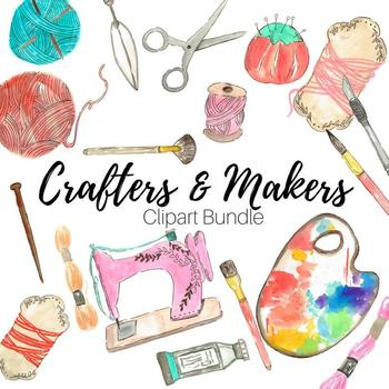 Watercolor Crafter Clipart Bundle By Writelovely Tpt