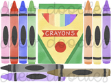 Watercolor Crayon Box Digital Clip Art Set