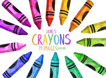 Watercolor Crayons Clipart By Digitalartsi Teachers Pay Teachers
