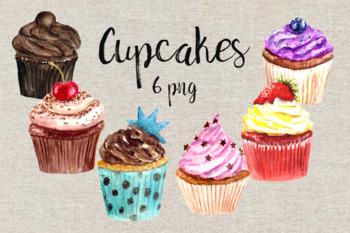 Watercolor Cupcake Clip Art Set