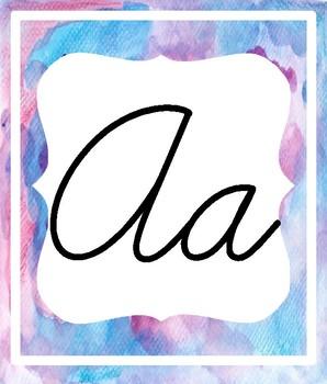 Watercolor Cursive Alphabet