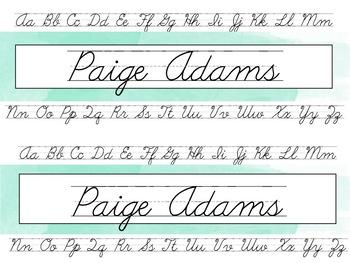 Watercolor Cursive Alphabet Nametags