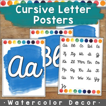 Watercolor Cursive Letter Posters