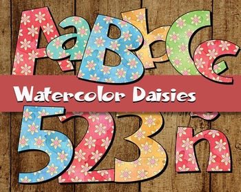 "Watercolor Daisies Clip Art Alphabet  /  97 pcs - 3.5"" High, Vector PDF and PNGs"