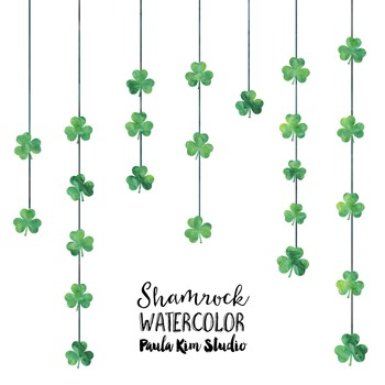 Watercolor Dangling Shamrock Clipart