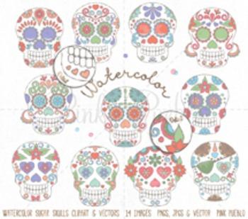 Watercolor Day of the Dead Skull Clipart Clip Art, Watercolor Sugar Skulls