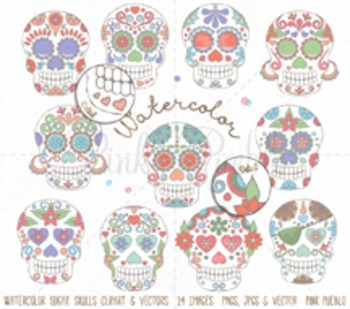 Watercolor Day of the Dead Skull Clipart Clip Art, Waterco