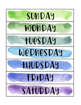 Watercolor Days of the Week