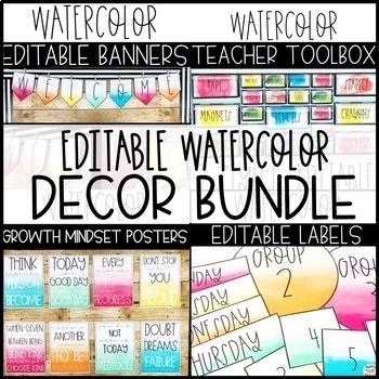 Watercolor Classroom Decor -Editable
