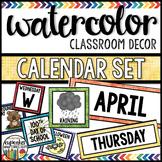 Watercolor Decor: Calendar Set Editable