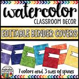 Watercolor Decor: Editable Binder Covers