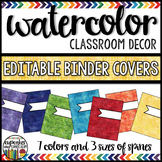 Watercolor Decor: Editable Binder Covers