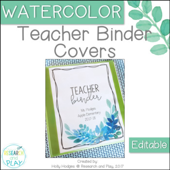 Watercolor Decor Editable Teacher Binder Covers