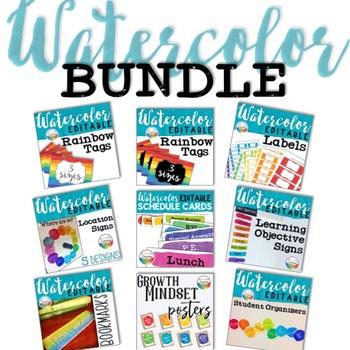 Watercolor Decor Bundle ~ Back to School Decor