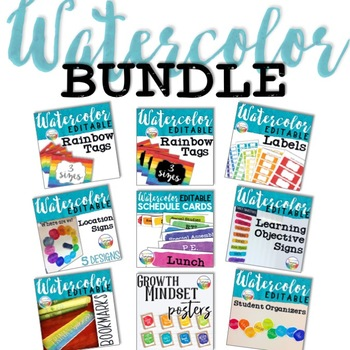 Watercolor Classroom Decor Bundle
