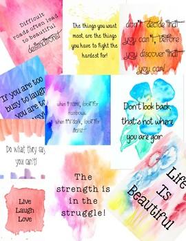 Watercolor Decor Inspiration Quotes