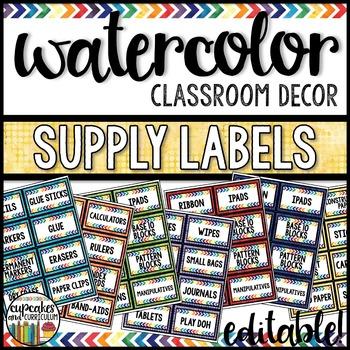 Watercolor Decor: Supply Labels Editable