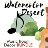 Watercolor Desert Music Room Decor BUNDLE