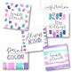 Watercolor Design Kit - Pink, Purple and Teal Clip Art [1]