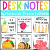 Watercolor Desk Notes | Editable