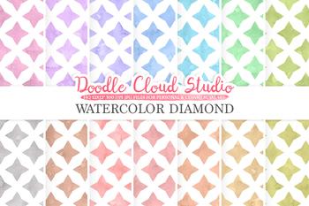 Watercolor Diamond digital paper, Diamond patterns, pastel watercolor