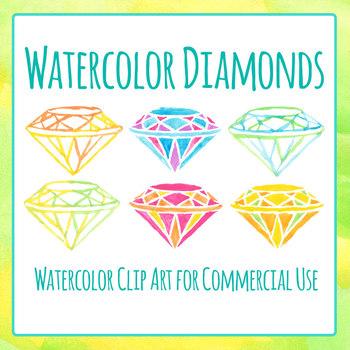 Watercolor Diamonds / Jewels / Gems Clip Art Set for Commercial Use