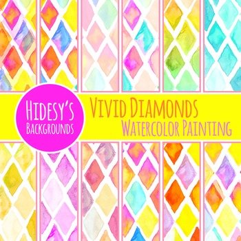 Watercolor Diamonds - Vivid Painted Diamonds Digital Paper
