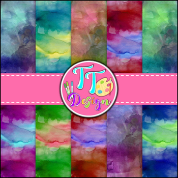 Watercolor Digital Background Papers {8.5 x 11} Clip Art CU OK