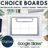 Watercolor Digital Choice Board Editable Templates in Google Slides™