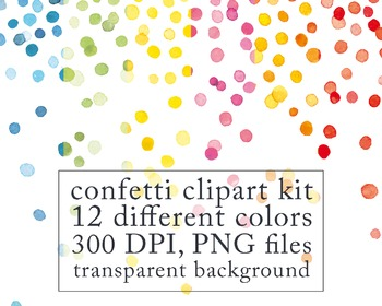 watercolor digital clip art confetti border birthday clipart new year