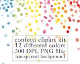 Watercolor Digital Clip Art, Confetti Border, birthday clipart, New Year