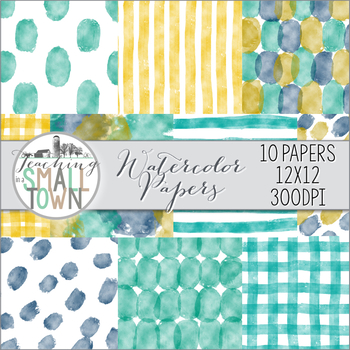 Watercolor Digital Paper {12x12} Commercial Use