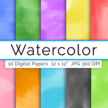 Watercolor Digital Paper- Assorted, Watercolor Backgrounds, Scrapbook Papers