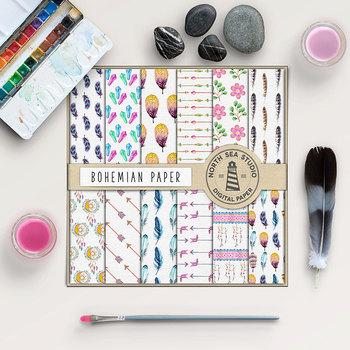 Watercolor Digital Paper - Bohemian Patterns
