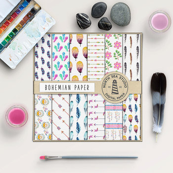 Watercolor Digital Paper - Bohemian Patterns