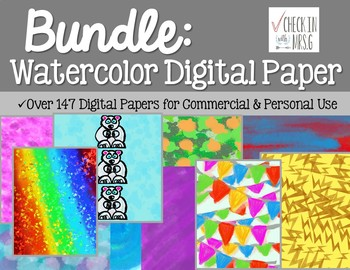 Watercolor Digital Paper Bundle