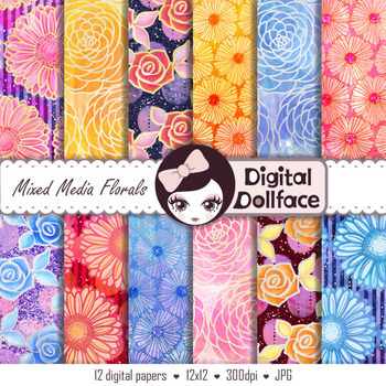 Watercolor Digital Paper, Glitter, Hand-painted, Mixed-Media Backgrounds