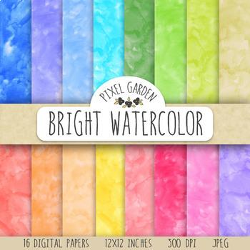 Watercolor Digital Paper. Hand Painted Digital Watercolors in 16 Colors.