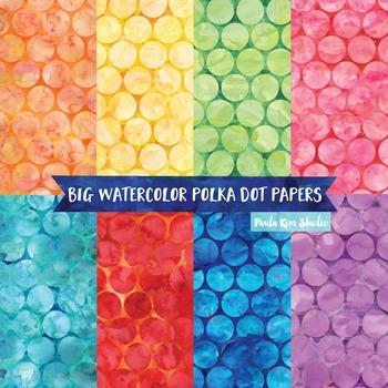 Watercolor Digital Paper, Large Polka Dots