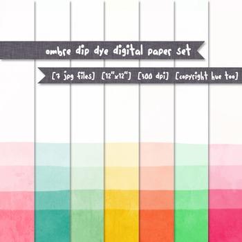 Watercolor Digital Paper, Ombre Dip Dye Digital Background