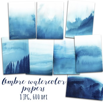 Watercolor Digital Paper, Ombre Watercolor Background, Marine, Nautical